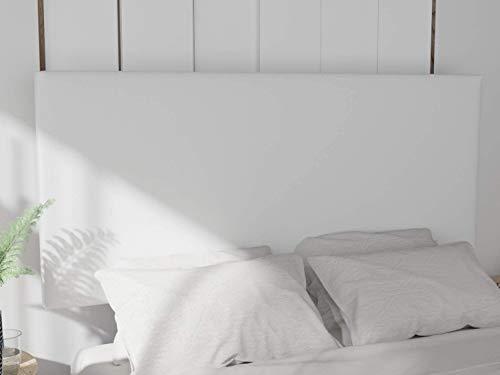 LA WEB DEL COLCHON - Cabecero tapizado Paros para Cama de 90 (100 x 70 cms) Blanco Polipiel | Cama Juvenil | Cama Matrimonio | Cabezal Cama |
