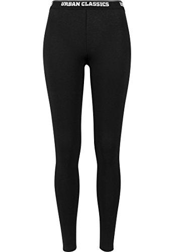 Urban Classics Damen Ladies Logo Leggings, black, 42 (Herstellergröße: XL)