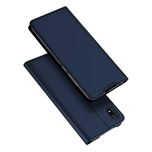 DUX DUCIS Coque Xiaomi Redmi 7A, Premium Étui de Protection [Stand Support] [Porte-Cartes de Crédit] [Fermeture Magnétique] TPU Bumper Housse en Cuir pour Xiaomi Redmi 7A (Bleu Profond)