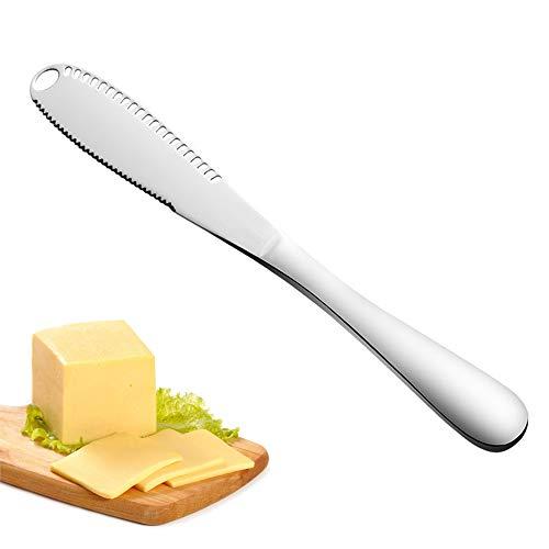JOJYO Buttermesser,Butter Schneider aus Edelstahl mit Wellenschliff, Küchen-Käsereibe für Gleichmäßige Saucenverteilung Käse, Brot Schneiden 1 PC