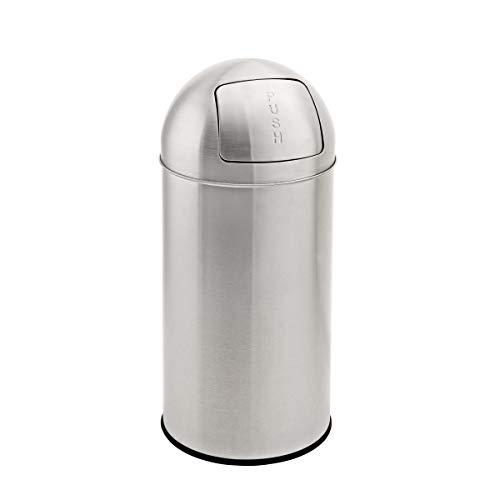 SVITA Mülleimer mit Push Klappe Edelstahl Küchen-Eimer Abfalleimer Silber (25 Liter)