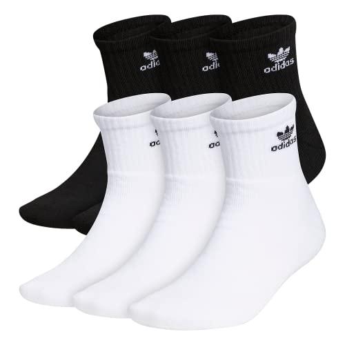 adidas Originals Calcetines para hombre (6 unidades), Originals Trefoil Quarter - Calcetines (6 unidades), Hombre, color negro/blanco, tamaño large