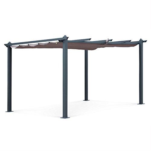 Alice's Garden Pergola Aluminium - Condate 3x4m - Toile Taupe - Tonnelle idéale pour Votre terrasse. Toit Retractable. Toile coulissante. Structure Aluminium. Pieds Larges et Robustes