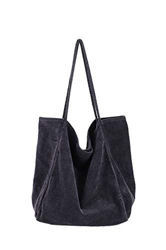 Howoo Damen Groß Cord Tragetasche Retro Schultertasche Beiläufig Einkaufstasche Mode Handtasche grau