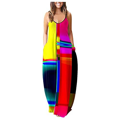Vestido maxi para mujer, estilo informal, holgado, sin mangas, estilo bohemio, estampado bohemio, línea A multicolor M-36/38/40