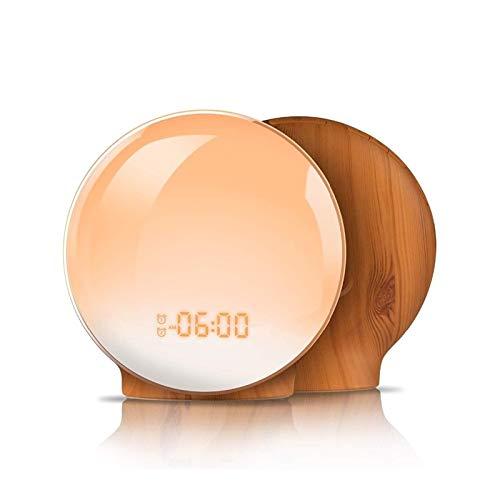 XpFac Store LED-Wecker, Digital-Snooze-Taktgeber-Wecker-Funktion, Neuer Wake-up Light Uhr Sonnenaufgang, Sonnenuntergang, Licht FM Wecker Wecker, Daily Life (Color : Brown)