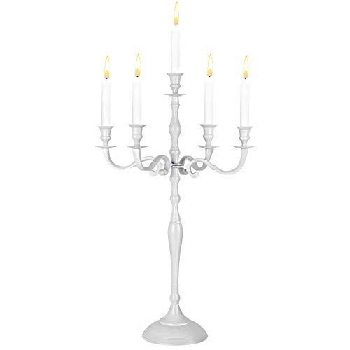 Deuba Kerzenständer Kerzenleuchter 1, 3 oder 5 armig 40/60/80 cm in Silber, Gold oder Weiß Leuchter (Weiß 40cm)
