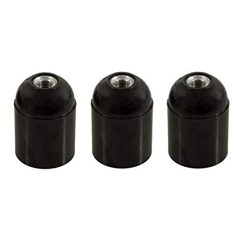 creative cables Bakelite - Lampenfassungs-Kit - Schwarz (3er -Pack) - E14, Schwarz
