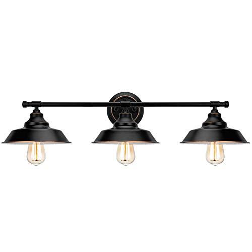 XHH Luz de Espejo de baño Lámpara de Pared Negra Vintage Pantalla de Metal Industrial Lámpara de Pared de baño Interior 3 Luces E27 Espejo de iluminación F (Hermosa Resistente a la corrosión)