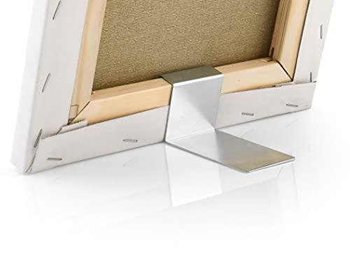 2er-Pack Keilrahmentischaufsteller für Bilder auf Standard-Keilrahmenleisten (Höhe 45 mm x Tiefe 18 mm), Bildaufsteller aus Metall, Tischaufsteller, Klemmaufsteller