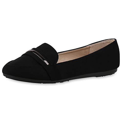 SCARPE VITA Damen Slipper Loafers Klassische Freizeit Schuhe Basic Slip Ons 174442 Schwarz 39