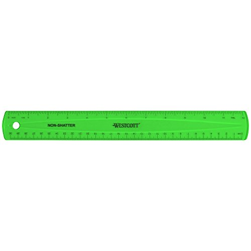 "Westcott Shatterproof Ruler, Assorted Translucent Colors, 12"""