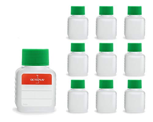 Octopus 10 Botellas de plástico 50 ml, Botellas de plástico de HDPE con Verde Tapones de Rosca, Botellas vacías con Tapas de Verde Rosca, Botellas rectangulares con 10 Etiquetas para marcar