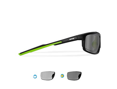 Bertoni Sports Sunglasses Antifog Photochromic Cycling Ski Running Golf mod. 180 (Matt Black - Photochromic)