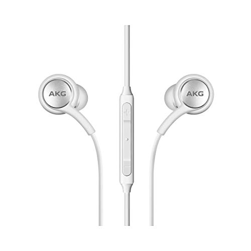 OEM Amazing 2019 Stereo Headphones for Samsung Galaxy S10 S10e S10 Plus Braided Cable - Designed by AKG - with Microphone (White) (Renewed)