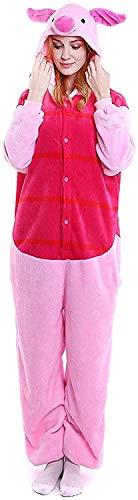 Unisex-adult Animal Onesie Pig Pajamas Cosplay Costume Halloween (X-Large (70.1-72.8 Inch), Piglet)