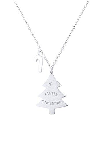 MoonLove 925 Silber Halskette Damen Anhänger Kette Weihnachtsbaum Halskette Silber Schmuck Weihnachten Kettenanhänger Geschenk