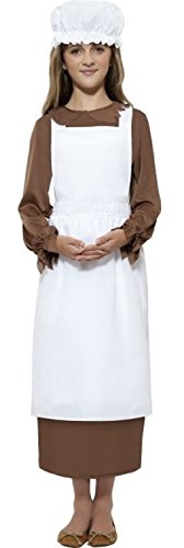 Ropa de descanso para niñas la función de audio en Victorian patrones de fregona Kit de accesorios para campesino pobre tipo libro Day SIRVIENTE Fancy disfraz infantil disfraz e instrucciones para hacer vestidos