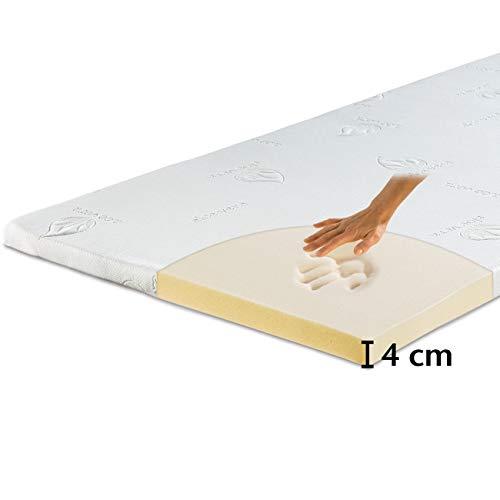 maxVitalis Viskoelastischer Matratzen-Topper, Orthopädische MemoryFoam Matratzenauflage, Viscoauflage für Matratzen & Boxspringbett, inkl. Aloe Vera Bezug (90 x 200 cm, Viskoschaum 4 cm)