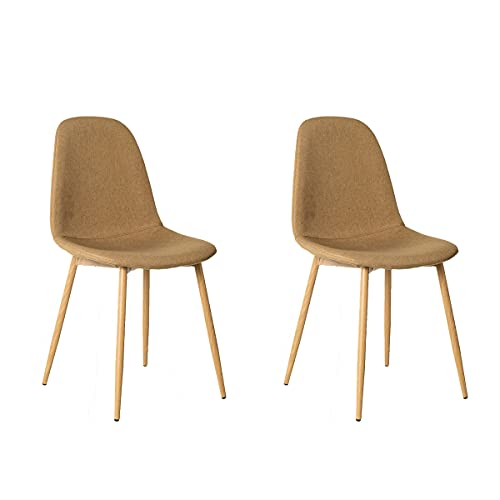 Pack de 2 sillas de Comedor tapizadas Beige de Tela y Metal de 47x51x81 cm - LOLAhome