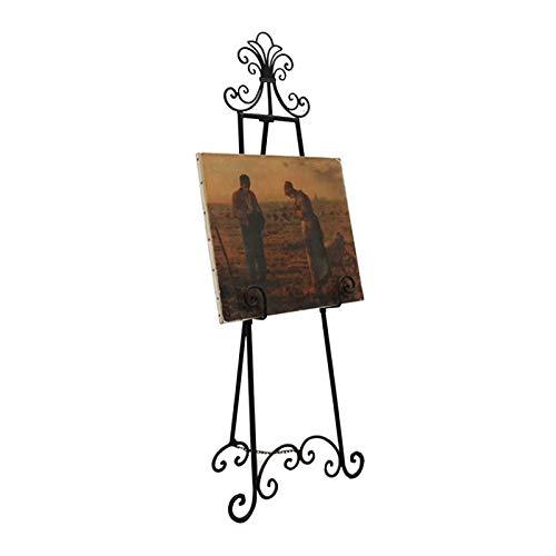 Estante Bienvenida Pie, Soporte Exhibición Pintura ÓLeo Hierro Forjado Caballete Boda Europeo para Actividades Navideñas (Color : Black, Size : 155cm)