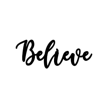 Home Metal Cutout-Believe Wall Sign-3D Word Art Home Accent Decor,House Warming Gift Sign for Indoor Outdoor Living Room and Bedroom Black 15.7 inches x 5.9 inches