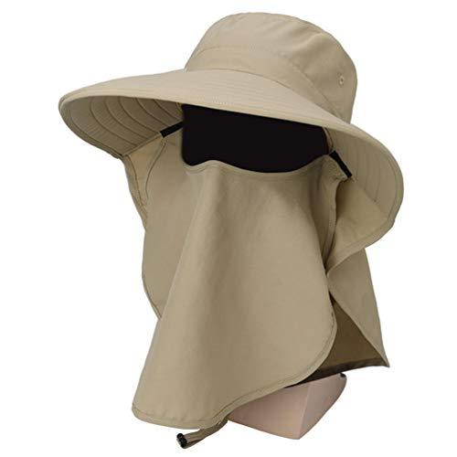 Générique Chapeaux de Pêche de Protection Solaire des Femmes avec Masque Facial Casquettes de Pêche Pliables à Large Bord avec Rabat de Couverture de Visage de Cou