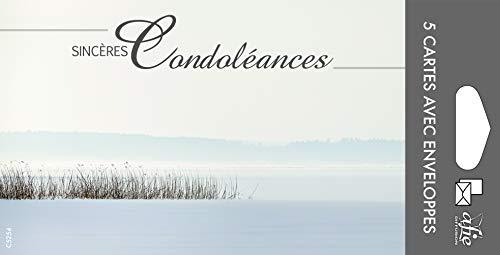 Afie Pochette de 5 Cartes Sincères Condoléances Nos pensées affectueuses vous soutiennent dans l'epreuve feuilles Décès Deuil Fabriqué en France