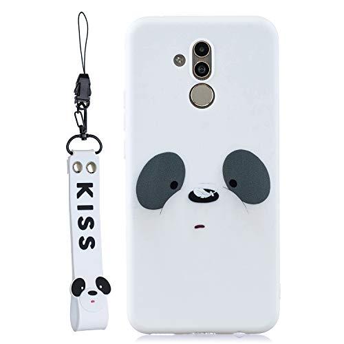 LeviDo Funda Compatible para Huawei Mate 20 Lite Silicona TPU Gel Bumper Caucho Caso Cover Delgado con cordón Goma Antigolpes Parachoque, Panda