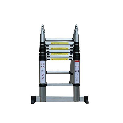 Wangkangyi Escalera Telescópica,5M Escalera Plegable Aluminio, Escalera Plegable Portátil,Soporta Hasta 150 kg,Altura de Plegado 2,5 Metros