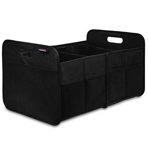 Ventaya Premium Kofferraum Organizer 60L aus Robustem Material, rutschfest mit Klett, Kofferraumtasche mit Stabilen Böden und Griffen, Platzsparende Falt-Box Autotasche