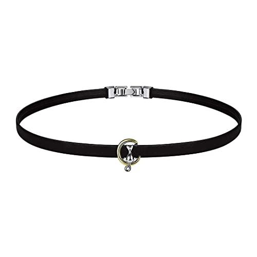 Collar con colgante de gato de plata de ley 925 de BFF de 45,7 cm de cadena de arco iris CZ o perla colgante de oreja de gato