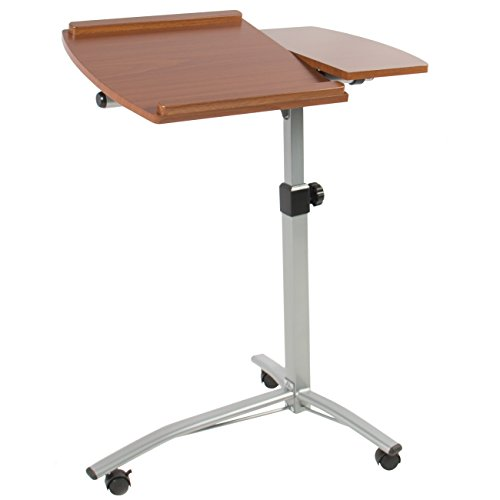 Best Choice Products Angle and Height Adjustable Mobile Laptop Desk Rolling Cart Stand w/Locking Casters - Brown
