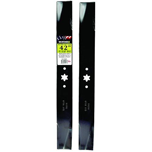 """Maxpower 561556 (2) Blade Set For 42"""" Cut MTD, Cub Cadet, & Troy-Bilt Replaces OEM No. 742-04308, 742-04312, 942-04308, 942-04312, 119-8456"""