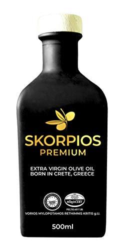 Skorpios Premium Olivenöl - Extra Nativ Kaltgepresst 500 ml - Griechenland - Kreta - Handverlesen - Nachhaltige Landwirtschaft - Koroneiki-Oliven - zum Kochen/Braten - Geschenk