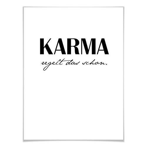 Poster Sprüche Zitate Weisheiten - Karma regelt das schon Wall-Art - 60x80 cm