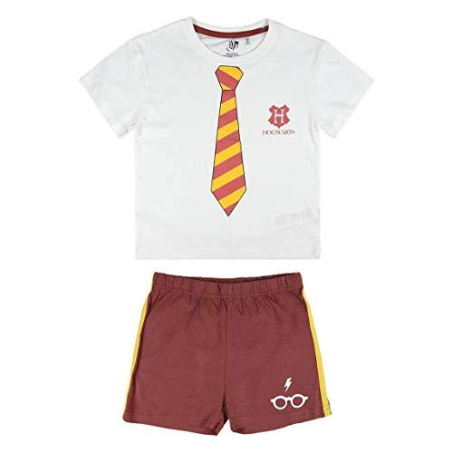 Cerdá Pijama Corto Algodón Harry Potter Conjuntos, Blanco (Blanco, 4 para Niños