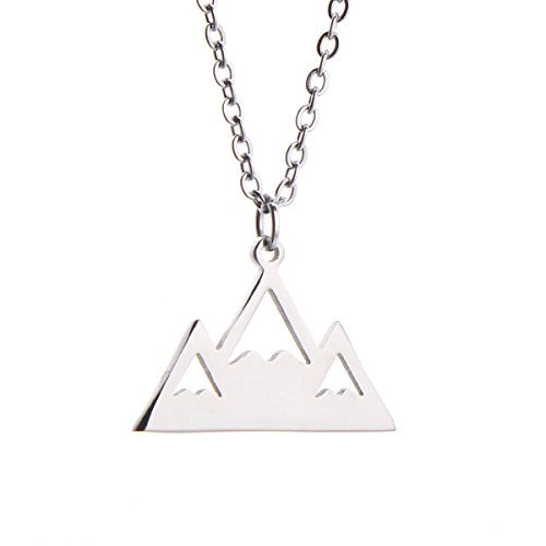 Mountain Peak Necklace Snowy Peaks Necklace Nature Outdoor Jewelry (Silver)