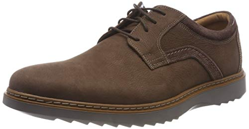 Clarks Un Geo Lace, Zapatos de Cordones Derby para Hombre, Marrón (Dark Brown Nubuck), 40 EU