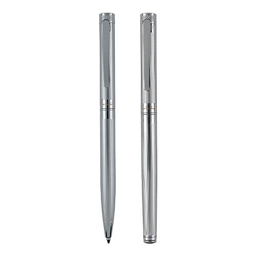 PIERRE CARDIN Schreib-Set aus Dreh-Kugelschreiber und Tinten-roller Gelstift und Metall-Kugelschreiber RENEE Set RB KS (silber)