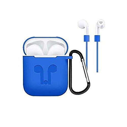 Case Cover Skins for Airpod, iKNOWTECH 3in1 Protective Silicone Cover & Skin for Apple AirPods Charging Case with Keychain/Anti-Loss Strap for Apple AirPods 1 & 2 (Light Blue)