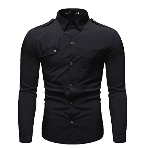 DNOQN Herren Hemden Langarm Achselshirt Herbst Winter Lässige Umlegekragen Knopf Solide Langarm Top Bluse Schwarz L