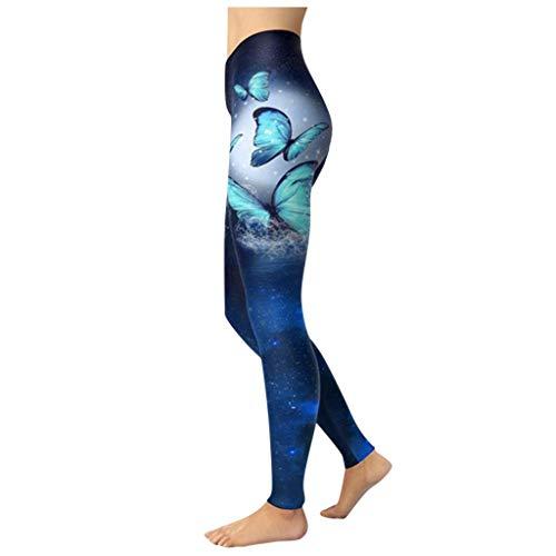 Damen Yoga Hohe Taillen Hosen Schmetterlings Druckbeiläufige Gamaschen Gamaschen Frauen Hosen