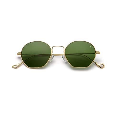 Eyepetizer Occhiali Da Sole Modello Triomphe Colore C 4-1 oro, Montatura In Metallo Leggero Color Oro, Lente Geometrica Verde Con Comodi Naselli, Stile Unisex