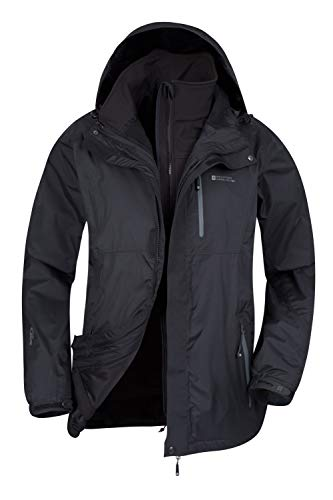 Mountain Warehouse Bracken Wasserfeste 3 in 1 Herren Winterjacke,mit Warmer Fleecejacke, Regenjacke, Herrenjacke, Funktionsjacke, Allwetterjacke, Doppeljacke, Winter Schwarz XL