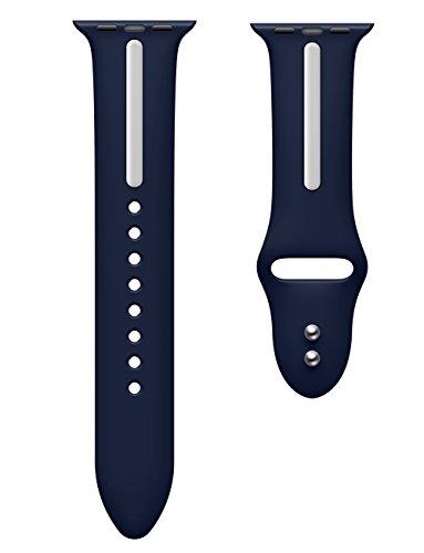 KarticeforAppleWatch5432144mm42mmバンドソフトシリコンバンドAppleWatchSeries54321スポーツバンドシリコンアダプター付き(44mm/42mm,ディープブルー+白)