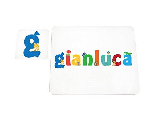 Little Helper LHV-GIANLUCA-COASTERANDPLACEMAT-15IT Dessous de verre et sets de table avec finition brillante, personnalisés pour garçons, nom Gianluca, multicolore, 21 x 30 x 2 cm