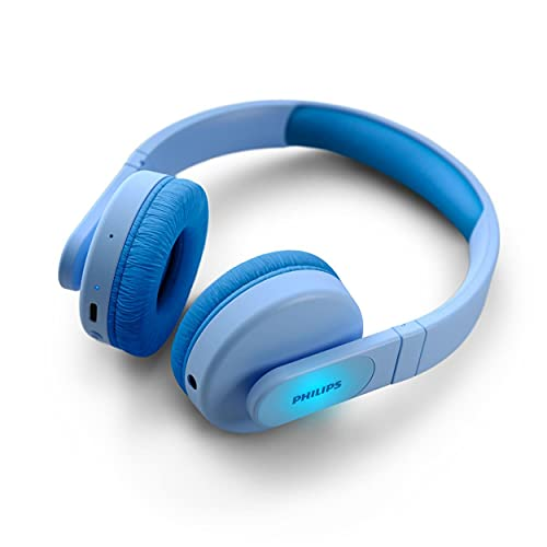 PHILIPS Cuffie On-Ear Wireless per Bambini TAK4206BL/00 Bluetooth, con Volume Limitato, Fino a 28 ore di Riproduzione, Design Colorato, Blu con Luci, Nuova Versione