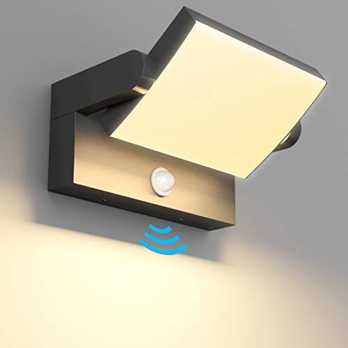 Klighten 24W Apliques Exterior LED con Sensor de Movimiento IP65 Lámpara Exterior, Lámpara Pared Ajustable Interior Apliques da Pared Aluminio para Entrada Jardines, Blanco Cálido 2700-3000K, Negro