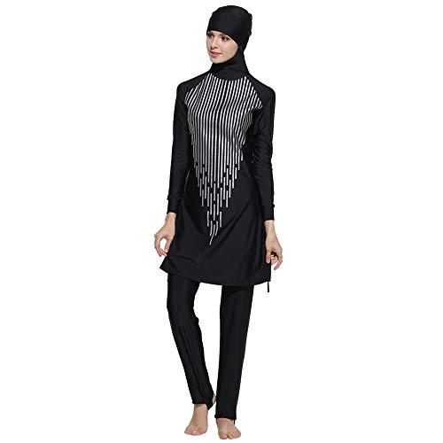 Clearance!Muslim Women Modest Swimsuit Islamic Summer Plus Size Full Cover Beachwear Swimming Costumes XXL On Sale (S, Black)